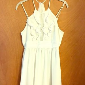 BCBG White Ruffle Dress